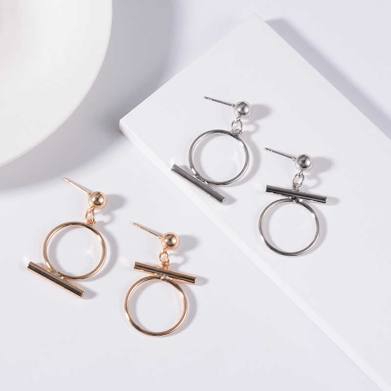 SUKI Originality Student Big Round Asymmetry Korean Drop Pendant Stud Earring Lady Women Party Summer Accessory Girls Jewellery