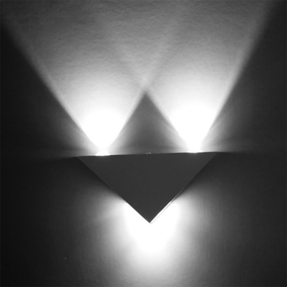3w aluminum triangle led wall light lamp modern home for Cool home lighting