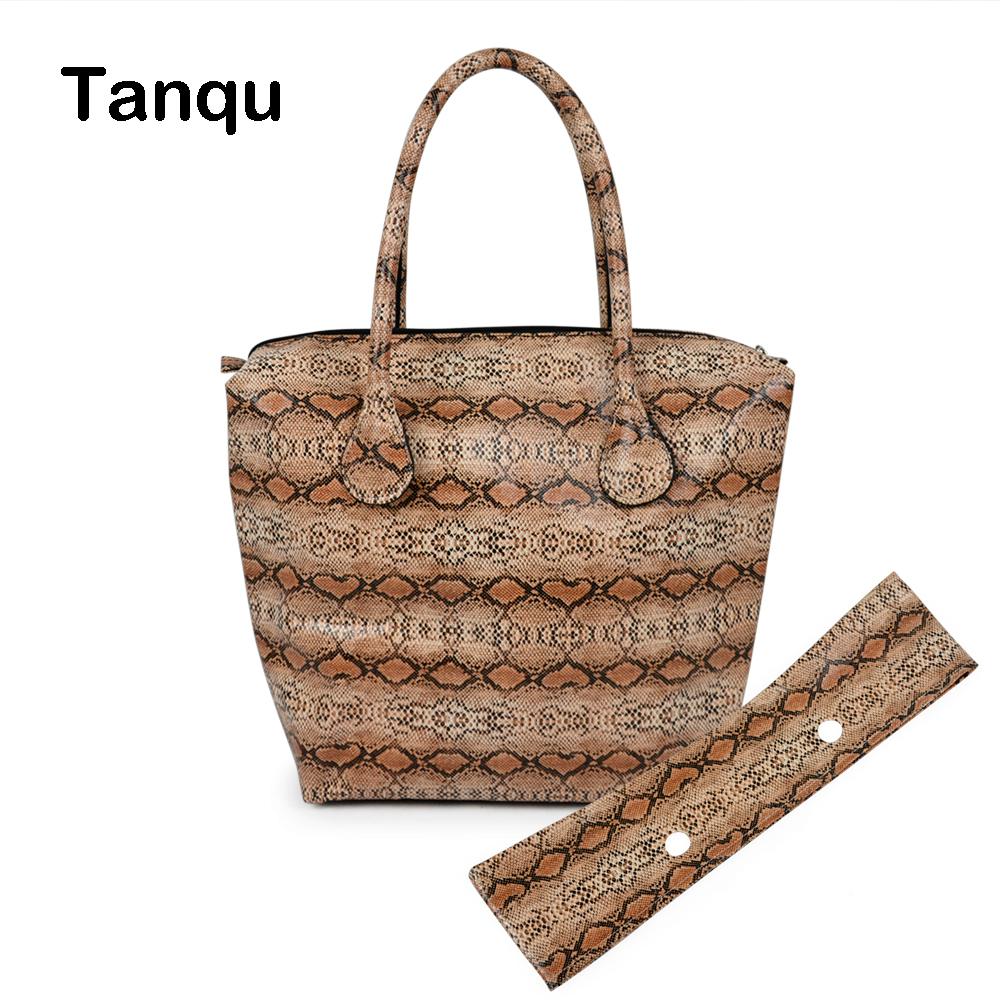 TANQU Waterproof Faux Snakeskin Leather Serpentine Insert Pocket Plus Trim Handle Combination for Classic Mini Obag Handbag 247 classic leather