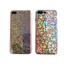 Luxury Glitter Bling Marble Case For iPhone X 7 8 Cute Rainbow TPU Cover Skin 6 Plus Laser Fitted Cases