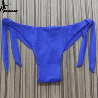 2016 Sexy Solid Thong Bikini Brazilian Cut Swimwear Women Bottom Adjustable Briefs Swimsuit Panties Underwear Thong