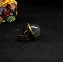 50pcs 20mm adjustable antique bronze flower ring tray half round bottle ball handmade glass dome cover jars diy vial ring gifts