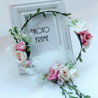 Bride Wedding Hair Crown Flower Wreath With Long White Lace Veil Women Girls Hairband Garlands Ladies Flower Headpiece