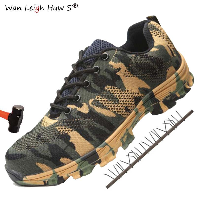 Shoes Men Work-Boots Construction Steel Plus-Size Camouflage Puncture-Proof Breathable