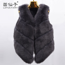 Luxury Faux Fox Fur Coat Women Vest Winter Warm thick Jacket Gilet female High Outwear Quality