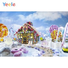 Christmas Backdrop Candyland Candy Winter White Snow House Photography Background For Photo Studio Photophone Photocall Shoot(China)