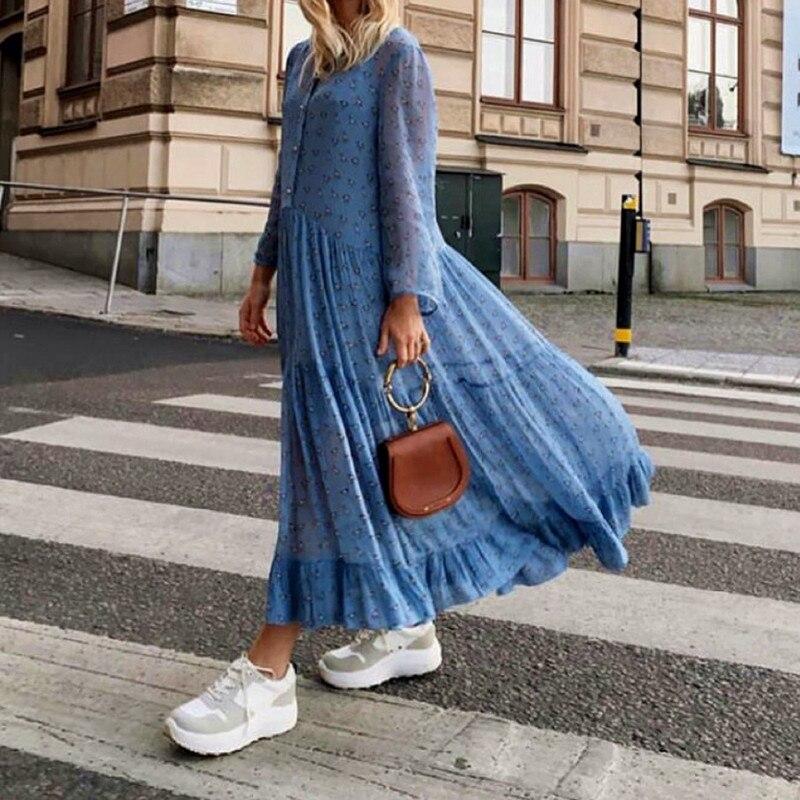 Women Blue Horse Animal Print Long Sleeve Stand Collar Pleated Cute Loose Long Dress