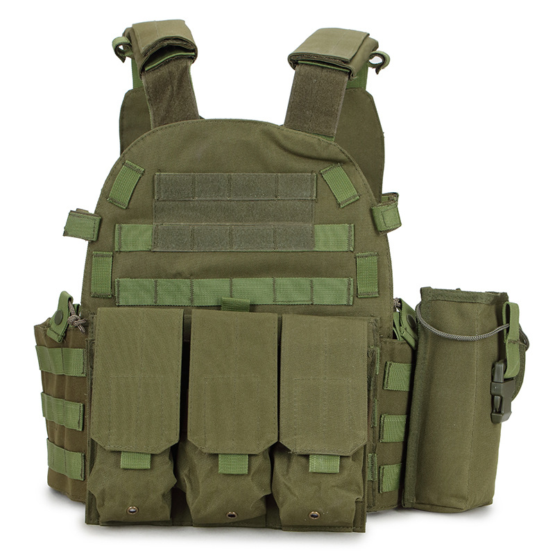 Tactical Molle Plate Carrier Airsoft Vest Paintball Combat Training Vest Soft Vest Tan With Triple Mag Pouch Intercom Pouch