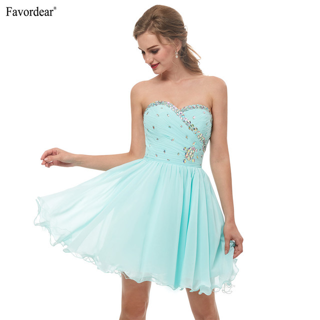 0748f7ed42fd5 US $72.88 |Favodear 2019 New Fashion Mini Beaded Sexy Short Party Gowns  Sweetheart Chiffon Mint Green Short Homecoming Dress Hot Sale-in Homecoming  ...