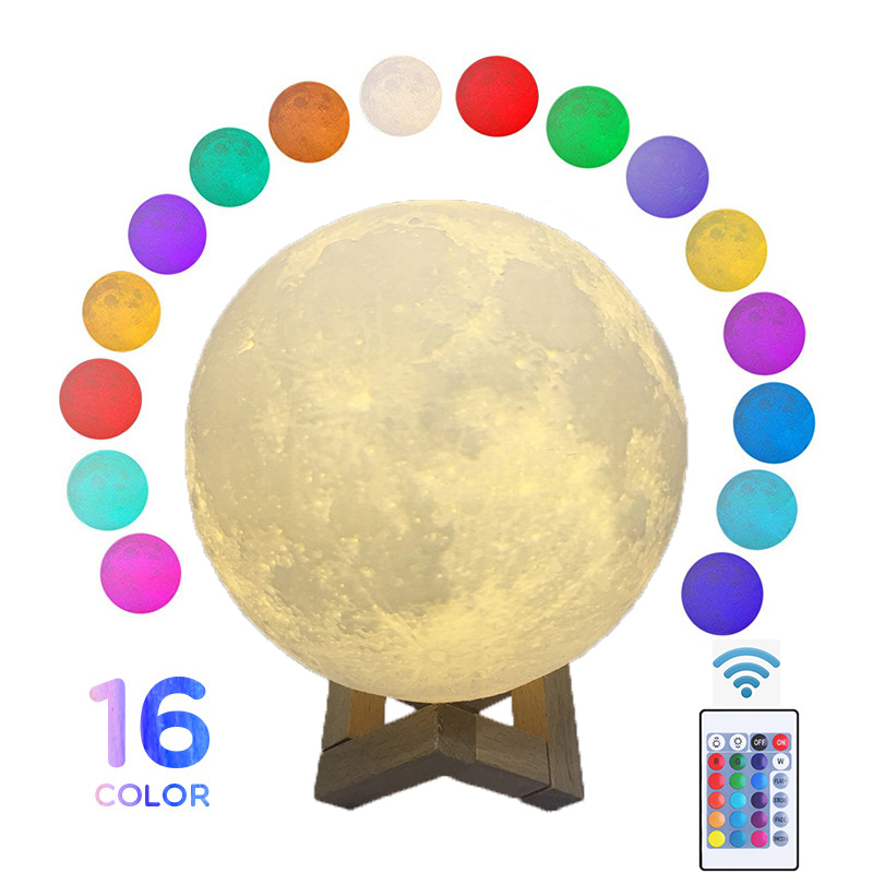 Round Led Night Light 3D Print Moon Lamp Colorful Change USB Rechargeable Touch Switch Luna Moonlight Home Decoration Creative