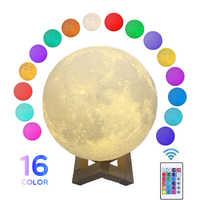 Rotondo Ha Condotto La Luce di Notte 3D Stampa Luna Lampada Cambiamento Colorato Usb Ricaricabile Dell'interruttore di Tocco Luna Chiaro di Luna Decorazione Della Casa Creativo