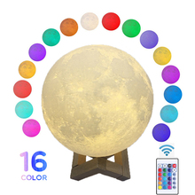 Round Led Night Light 3D Print Moon Lamp Colorful Change USB Rechargeable Touch Switch Luna Moonlight Home Decoration Creative aucd colorful 3d magical moon led night light moonlight desk table lamp usb rechargeable for home decoration christmas gift 267
