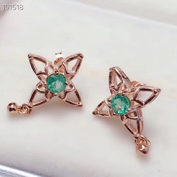 Emerald earring Free shipping Natural real emerald 925 sterling silver  Fine jewelry