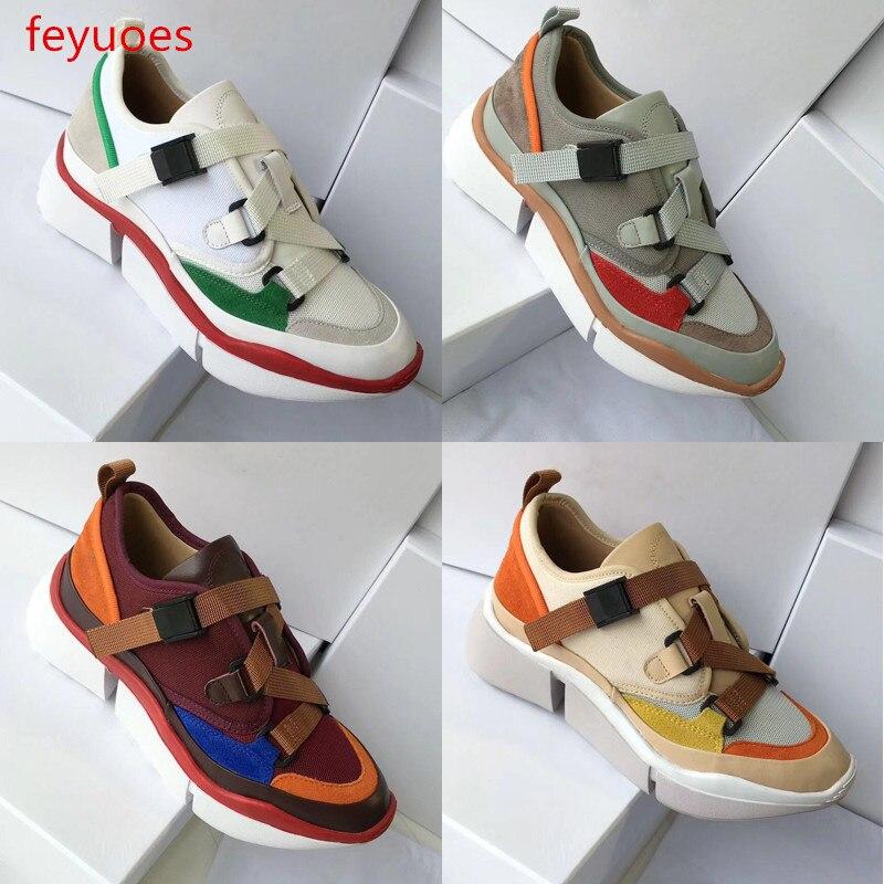 Vrouwen nieuwe lederen singels spons taart dikke zolen kleur bijpassende casual schoenen outdoor trend sport schoenen-in Platte damesschoenen van Schoenen op  Groep 1
