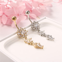 Fashion Rhinestone jewely Flower Dangle Navel Belly Button Ring