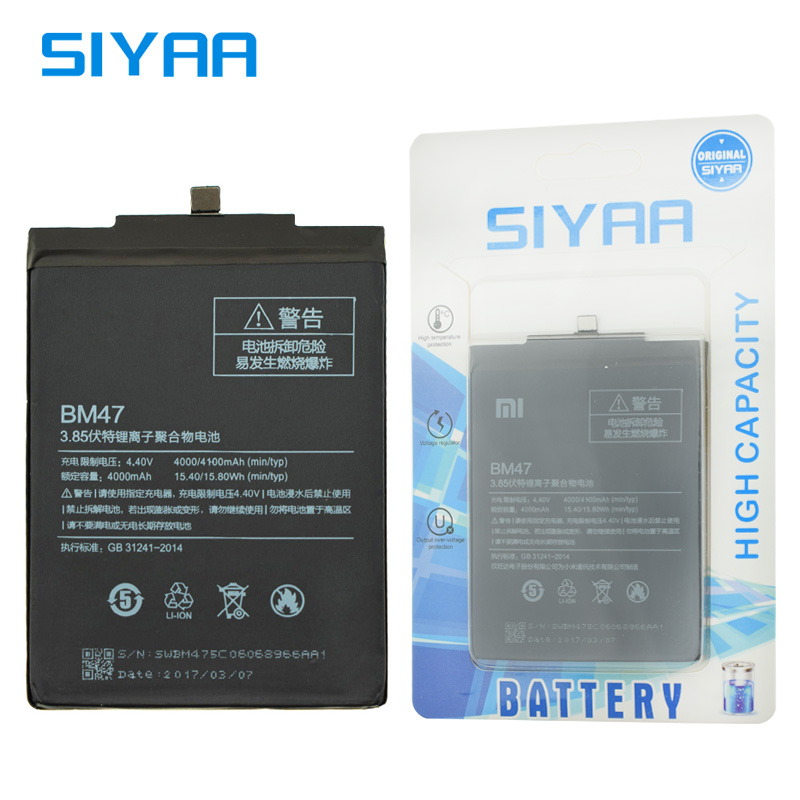 SIYAA Original Battery For Xiaomi BM47 Hongmi Redmi 3 Pro 3S 3X 4X High Capacity 4000mAh Replacement Mobile Phone Li-ion Battery