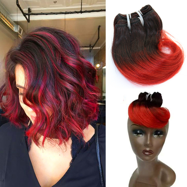 Full Shine Brazilian Short Weave Hair Extensions Remy Hair 1b Red