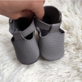 Gray fretwork T-bar baby moccasin