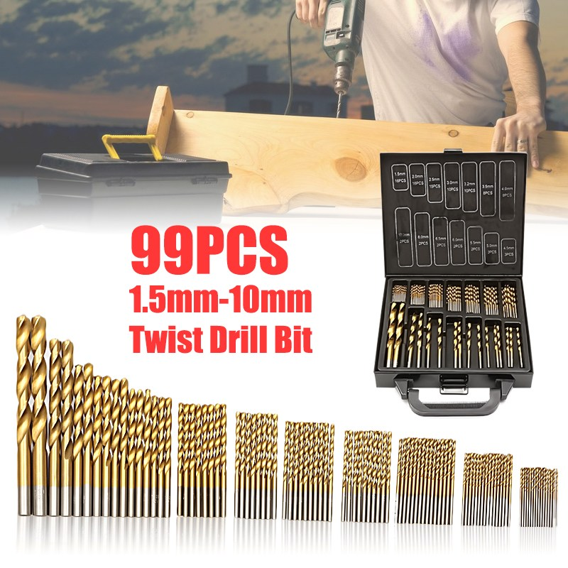 Doersupp 99pcs Titanium Coated HSS Twist Drill Bits Set and Case Plastic Wood Metal Kit Top Quality free shipping of 19mm hss metal plate opener drill bits core bits for stainles steel less 2mm and iron thin soft metal plastic