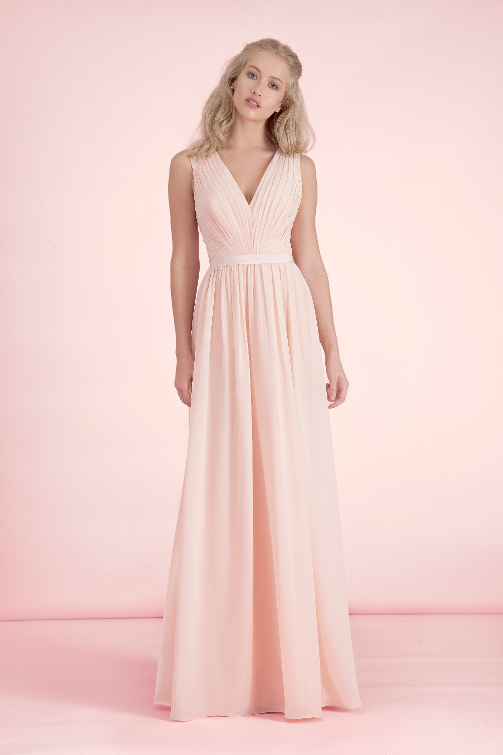 Elegant fashion simple light pink bridesmaid dresses v neck low elegant fashion simple light pink bridesmaid dresses v neck low back chiffon long wedding party dresses vestido de festa bn97 in bridesmaid dresses from ombrellifo Gallery