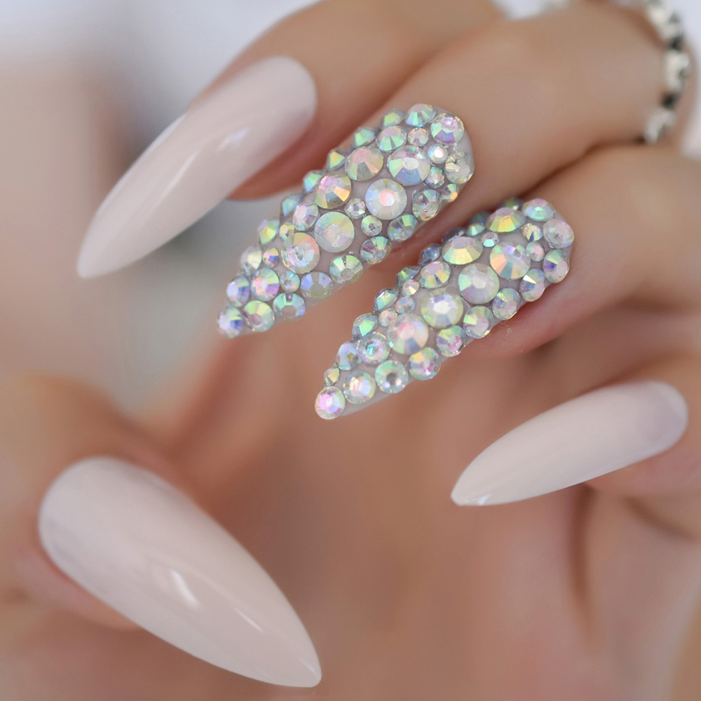 Fake Nails Custom Extra Long Nail Salon Tips Stiletto Light - Onetime