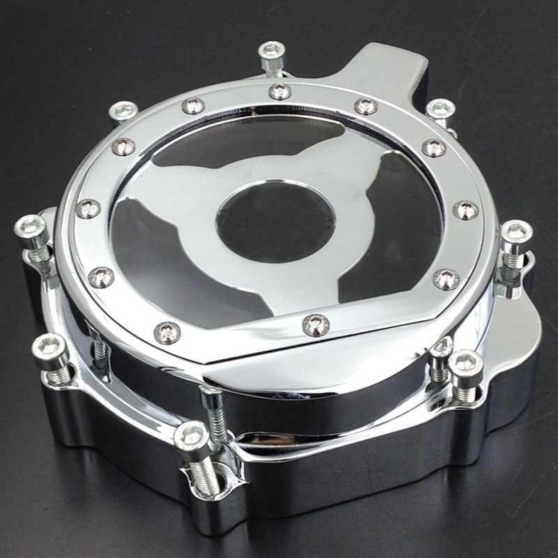 Chrome Motorcycle Engine Stator Cover Crankcase For Suzuki GSXR1000 03 04 GSXR 600/750 2004 2005 GSX-R600 GSX-R750 04 05 2pcs engine stator cover crankcase for bmw r1200rt r1200st r1200gs 2004 2007 2005 2006 chrome
