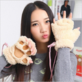 cute fashion sexy cat paw glove womens office typing half finger warm gloves & winter mittens for female women Plush gloves 2015