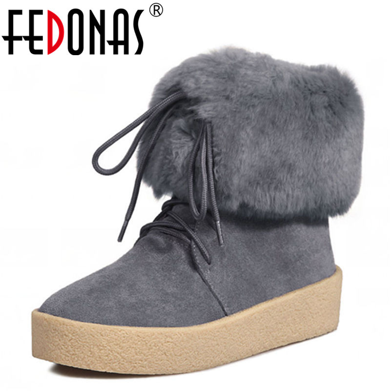 FEDONAS Winter Woman Boots Ladies Flat Ankle Boot Casual Round Toe Women Snow Boots Fashion Warm Rabbit Fur +Plush Cotton Shoes women ankle boots 2016 round toe autumn shoes booties lace up black and white ladies short 2017 flat fashion female new chinese