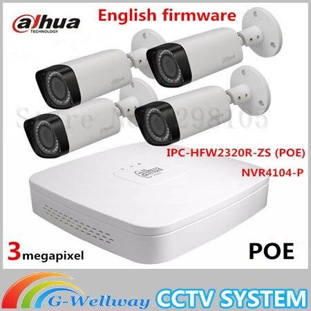 Outdoor 3MP Bullet Network Camera IPC HFW2320R ZS 4CH NVR NVR4104 Varifocal Lens Micro SD Card