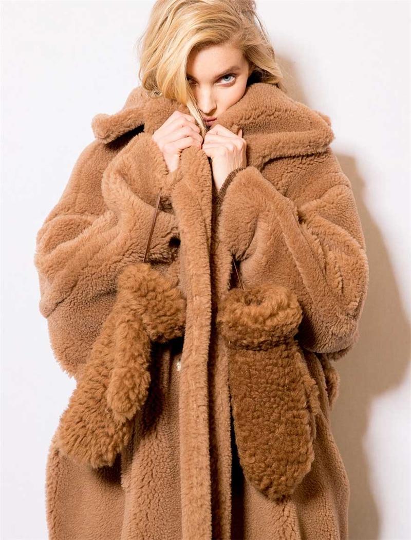 Manteau en fausse fourrure velours Teddy, pour vacances chaudes Type cocon de noël célébrité mode fête de soirée manteaux de fourrure pour femmes Sexy en gros