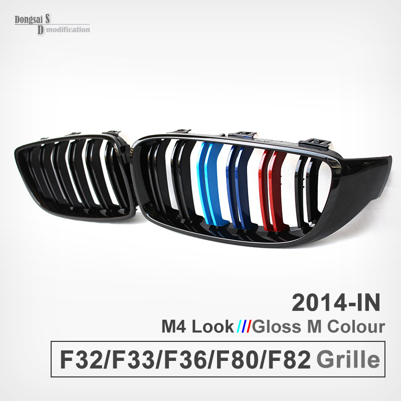 A Pair of M three color front kidney grill grille for bmw 4 series F32 F33 F36 F80 M3 F82 F83 M4 428i 420i 435i 2013 - IN 2pcs new style m performance side skirt sill decal stripe vinyl sticker for bmw 4 series f32 f33 420i 428i 435i