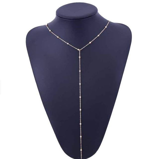 TOMTOSH Gold Beaded Lariat Necklace, Beaded Necklace, Y Women Clavicle necklace