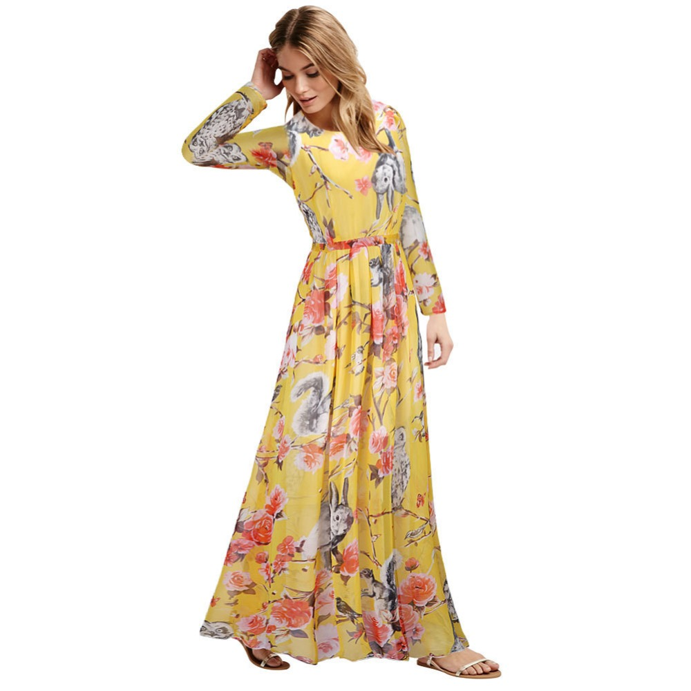 0c95bf7eaf11 Summer Dress 2018 Maxi Dress For Women Elegant Long Party Dresses Chiffon  Sexy Vestido Print Floral Owl Robe Plus Size 6XL HJ246-in Dresses from  Women's ...