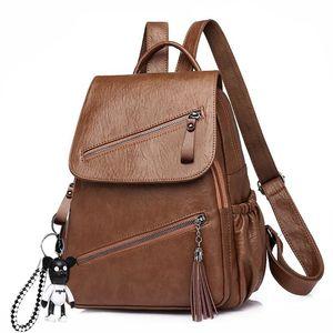 Image 2 - Vintage Tassels Backpack New Women Retro PU Leather Rucksack Big Capacity School Bag For Teenager Girl Travel Bolsas