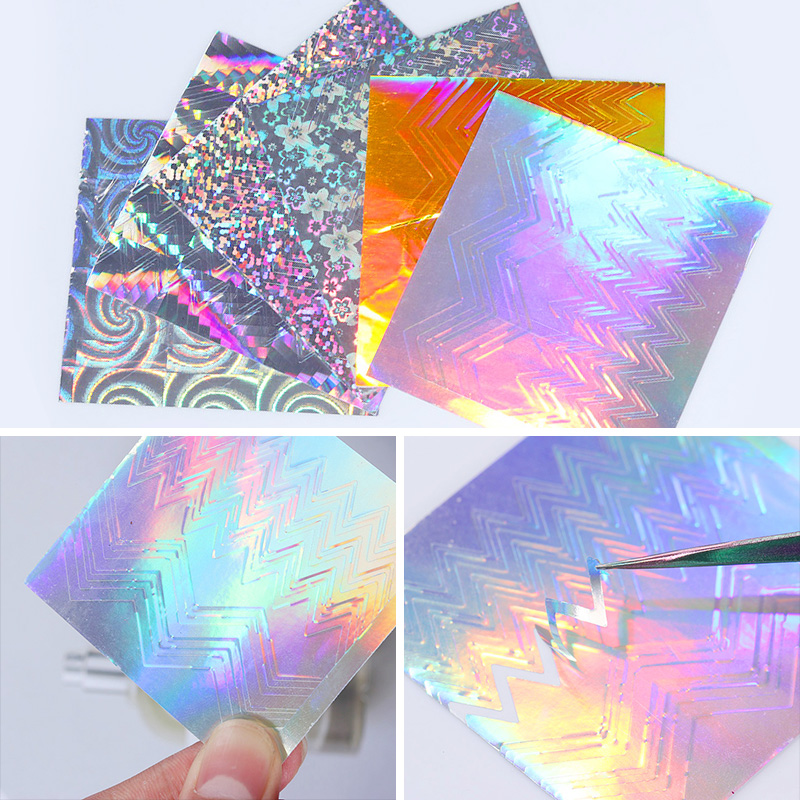 Holographic Wave Line 3D Nail Sticker Adhesive Holo Laser Ultra Thin Candy Manicure Nail Foil Decal free shipping kapro 810 pro laser nail gripper line laser with nail