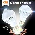 Led pir motion sensor lâmpada 5 w 7 w 9 w e27 220 v + led lâmpada Sensor de Som 3 W 5 W 7 W Auto Lâmpada Inteligente Corpo Da Lâmpada Infravermelha luz