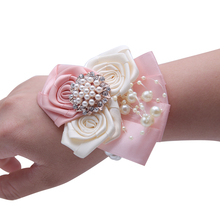 Artificial  Bride Flowers Wrist Corsage Bridesmaid Sisters Hand flowers For Wedding Dancing Party Decor Bridal Prom