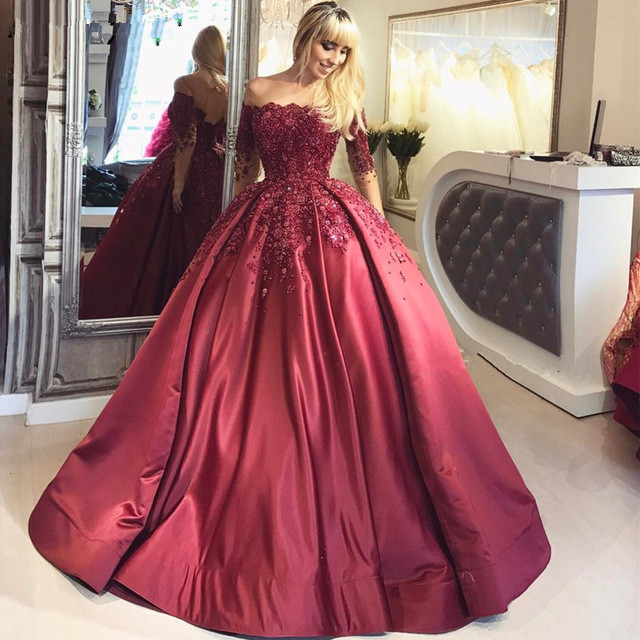 Quinceanera Dresses 2019 Satin Ball Gown 3D Flowers Dubai Saudi Arabic vestido de 15 anos debutante Sweet 16 Dress Burgundy