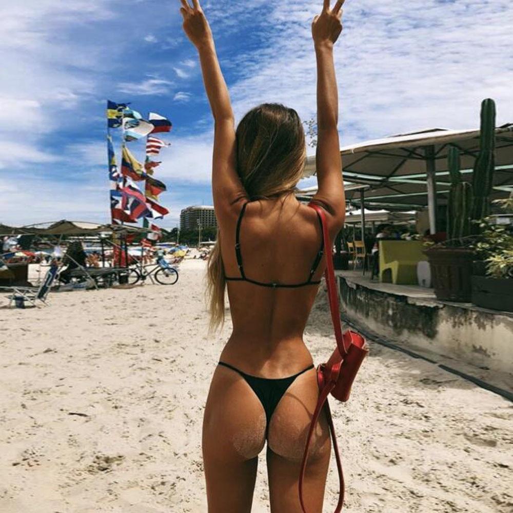 2 Piece Swimwear Women Bikini Push up Bathing Suit Strapless beach Brazilian Swimsuit Sexy Black G-string Thong Bikini Bra 2019-2