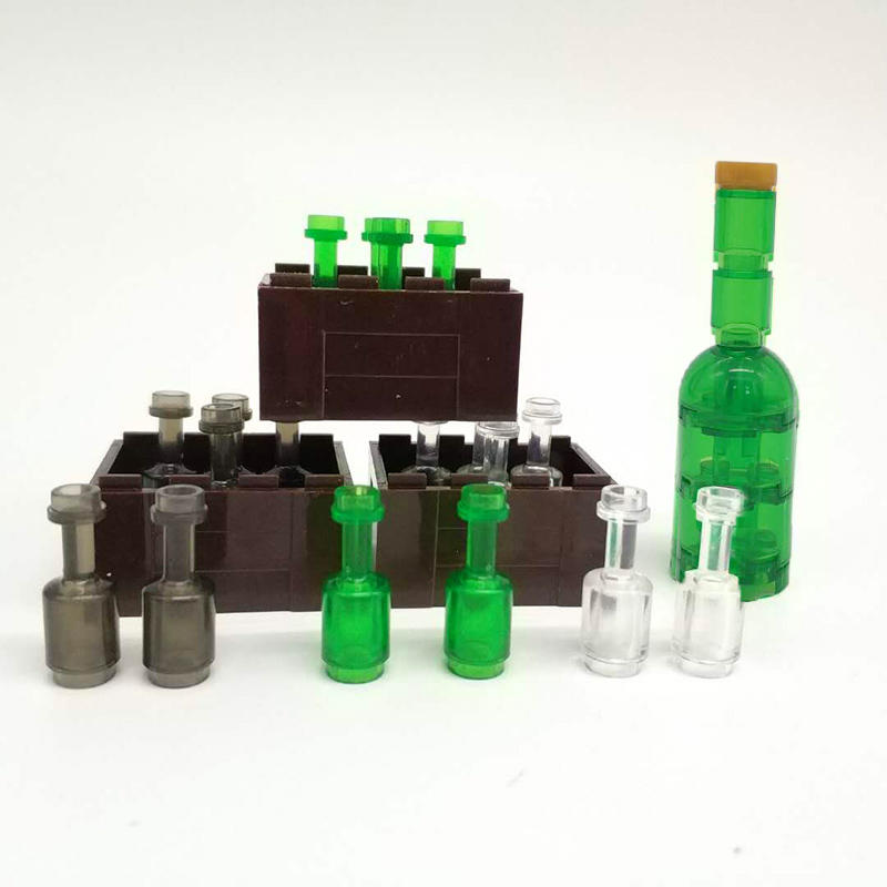 DIY Mini Model Brick Toys Brown Box with Green Beer Bottle Building Blocks Golden Cup Accessories Brick Compatible LegoINGlys