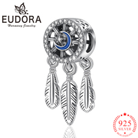 Eudora Real 925 Sterling Silver Dreamcatcher Charms Pendant fit Women Necklaces Bracelets Star & Moon Beads Jewelry Making