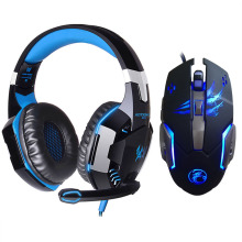 EACH G2000 Gamer Stereo Sound 2.2m Hifi Gaming Headphone Noise Reduction LED Lights Game Headset+3200PDI Pro Gaming Mouse Gift