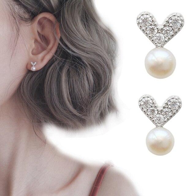 fda513d42 Cute Tiny Silver Heart Stud Earrings simple Imitation pearls Earrings Gift  For School Girls Kids Lady