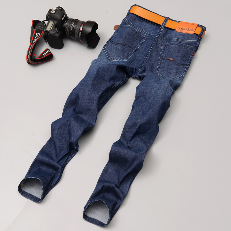 Men s jeans male straight slim pants elastic spring summer youth business casual Han Banchao