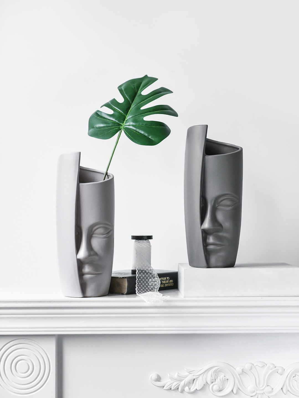 Скандинавское лицо искусство Керамическая Ваза Цветочная композиция ваза винтажные вазы для искусственных цветов керамическая креативная люди лицо большая ваза горшок