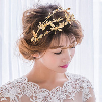2017 Dragonfly Crystal Pearl Flowers Gold Plated Hair Band Queen Crown Tiara Bride Wedding Headband Jewelry