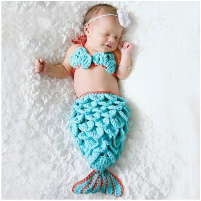 b73014a17a02 Newborn Baby newborn photography props Little Mermaid Knitted Costume Photo  Props Princess Baby Animal Costume Set
