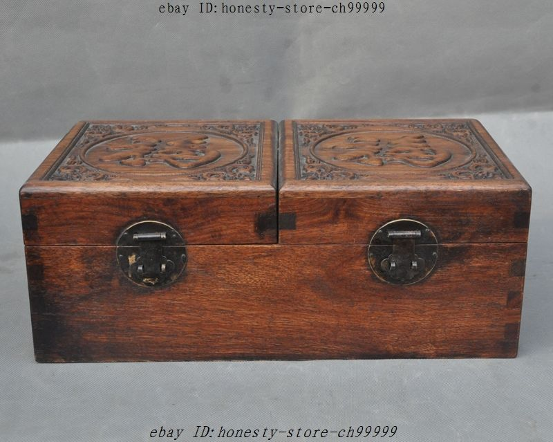 14 Old Chinese Huanghuali Wood Hand Carving LuckyJewelry Box Container Boxes14 Old Chinese Huanghuali Wood Hand Carving LuckyJewelry Box Container Boxes