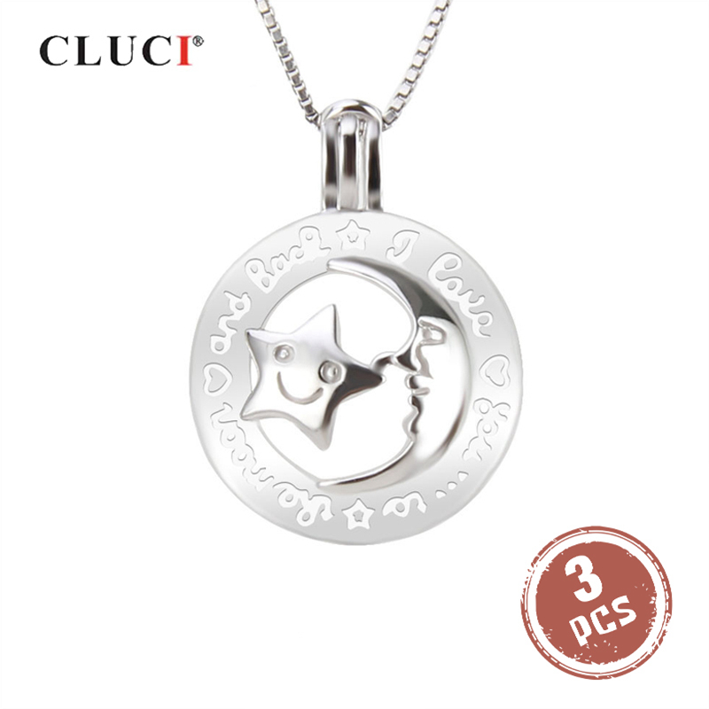 CLUCI 3pcs Round Silver 925 Moon and Star Pendant For Women 925 Sterling Silver Mothers Day Gift Wish Pearl LocketCLUCI 3pcs Round Silver 925 Moon and Star Pendant For Women 925 Sterling Silver Mothers Day Gift Wish Pearl Locket