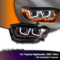 NOVSIGHT LED H7 Auto Car LED Headlights Projector Headlamp DRL Light Daylight For Toyota Highlander 2007 2011 Car Light